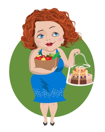 red-haired girl holds a bag of vegetables in one hand  and  a cake in another