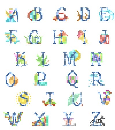 babyboy: stitch-point embroidered babyboy alphabet with figures