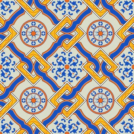 Nahtlose Vektor-Muster von der ursprünglichen sizilianischen Fliesen gemacht Standard-Bild - 21859123