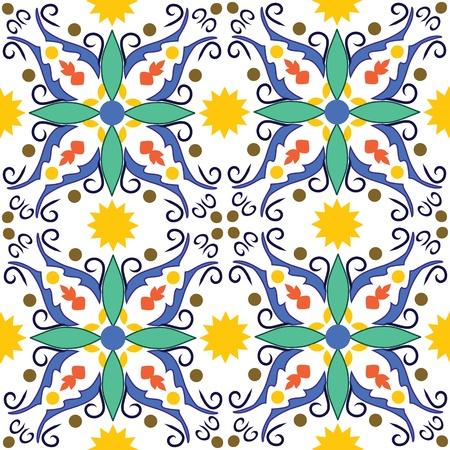 オリジナルのシチリアのタイルから作られたシームレスなベクター パターン  イラスト・ベクター素材