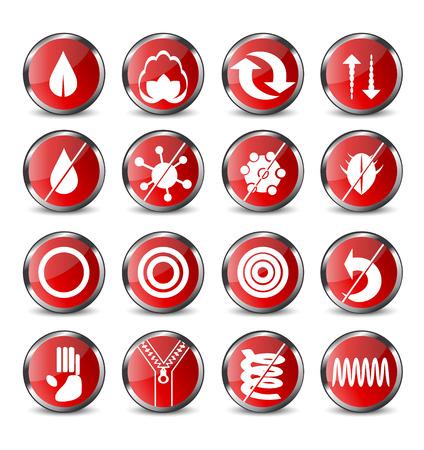 赤い丸いマットレスの 16 のアイコンのセット