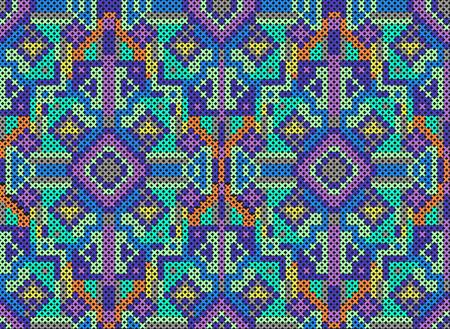 punto cruz: ilustración vectorial de adorno cosido cruz en azul Puttern cross-cosido. Efecto bordado hecho a mano Foto de archivo