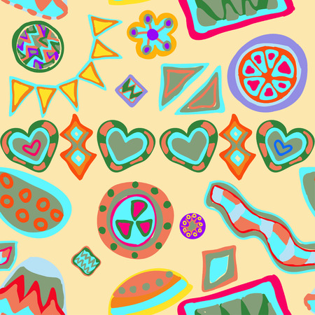seamless vector ornament with colorful figures on black background