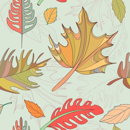 perfect seamless vector background with autumn leaves photo