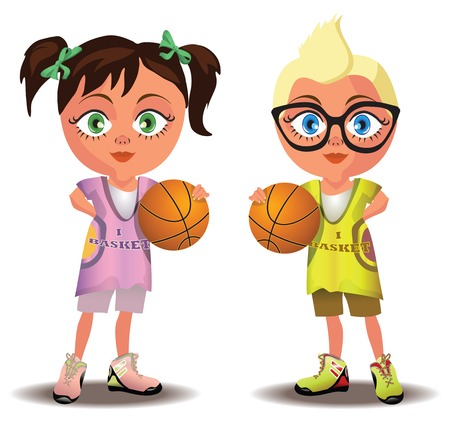 teenagers only: illustrtation of a boy and a girl holding basketballs