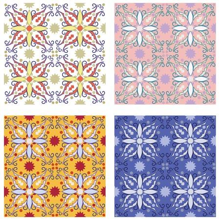 set of 4 seamless mediterranean patterns