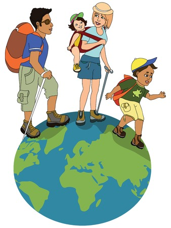 mixed race girl: family hiking on the globe Stock Photo