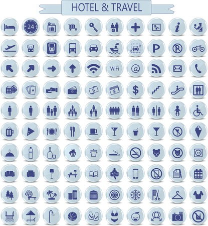 vector set of hotel and travel paper icons photo