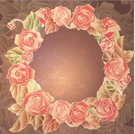 oldened: romantic wreath with roses- oldened gold effect. vector EPS10