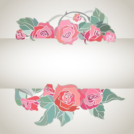 striped vector background with roses photo