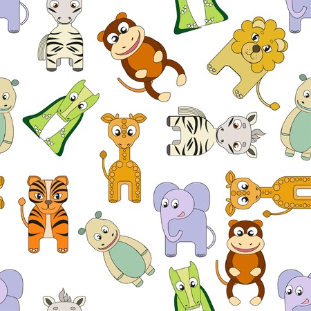 cute seamless vector background with african animals. Perfect for fabric, seamless pttern for kids. photo