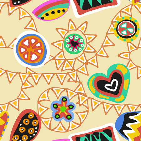 pueblo: seamless vector ornament with colorful figures on black background