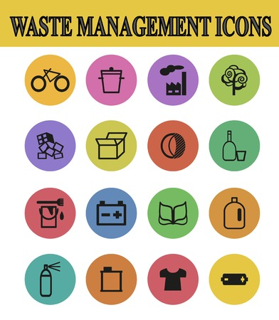 waste management: vector illustration of waste management  icons Stock Photo
