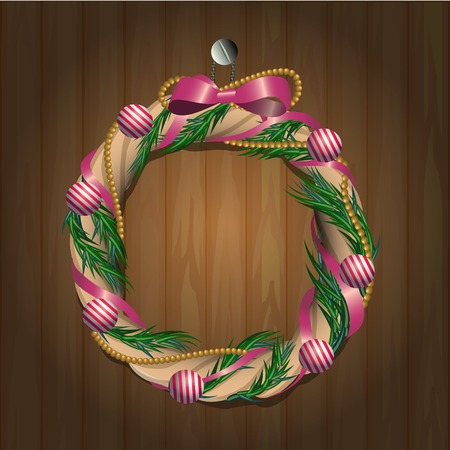 opacity: vector illustration of christmas wreath on wooden texture- EPS 10 opacity