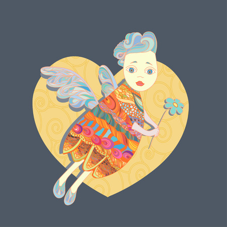vector illustration of flying angel holding a flower illustration