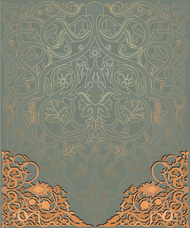 arabic vector background with wooden ornament Illustration