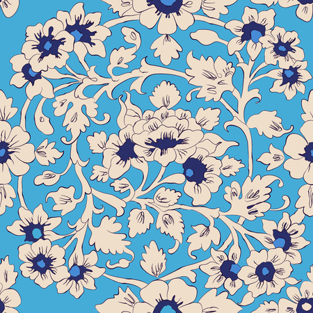 seamless vector pattern. classic islamic floral ornament. autentical colors