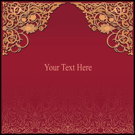Rico fondo rojo y oro con adornos de madera islámico tradicional Foto de archivo - 29697735