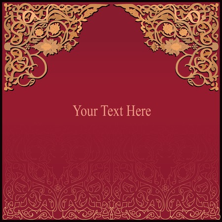 rich red and gold background with traditional islamic wooden ornament
