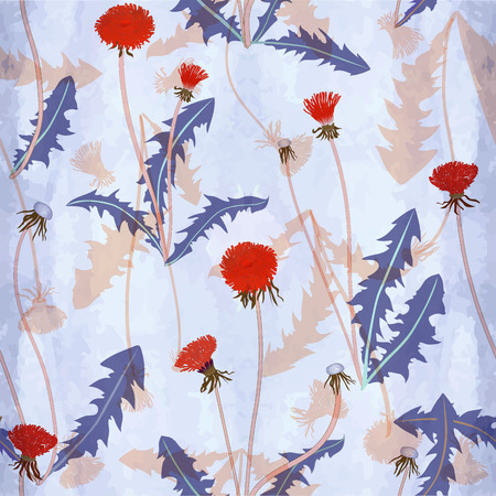 Seamless vector pattern with dandelions on seamless watercolor background Illustration