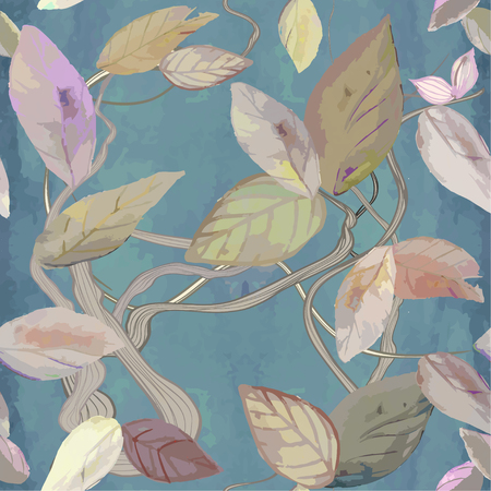 seamless vector background with leaves on blue watercolor background
