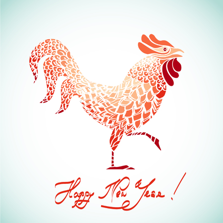 red vector rooster, 2017 design element Illustration