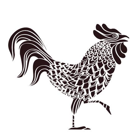 monochrome vector rooster, 2017 design element