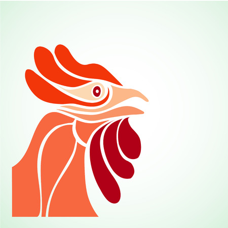 red vector rooster, essential flat design