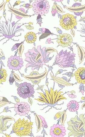 seamless vector pattern with flowers and leaves. Traditional oriental ornament, trendy colors, pastel tones