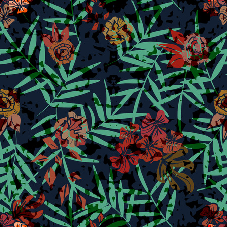 seamless pattern with palm leaves and flowers. tropical style, trendy design, perfect for fabric 向量圖像