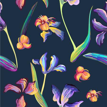 hand brushed: Van Gogh iris flowers