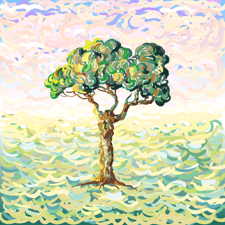 Vector illustration of a tree. Van Gogh's impressionistic oil painting style with lines and dots