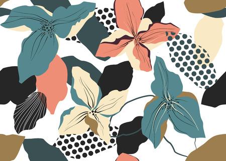 Fashion flower design Seamless vector pattern.