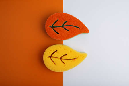 Flat lay with orange and yellow leaf shaped sponges for home and dishes cleaning on orange and white background