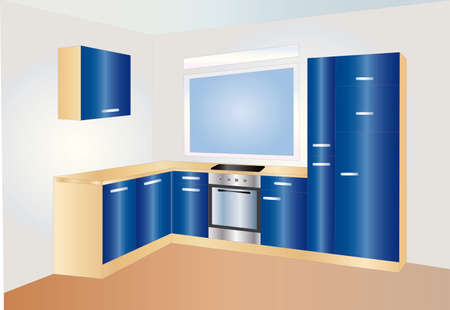 kitchen blue Vector
