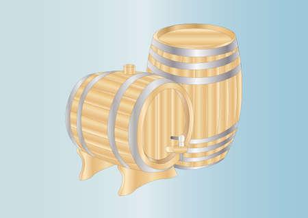 wooden barrels photo