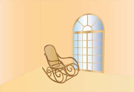 schommelstoel en raam (achtergrond op afzonderlijke laag)