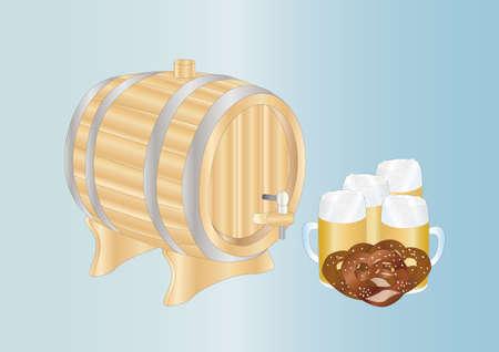 bretzel: beer mug and barrel Stock Photo