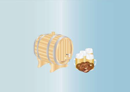 beer mugs and barrel Vector