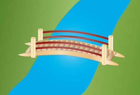 bridge in nature: little bridge over a creek Illustration