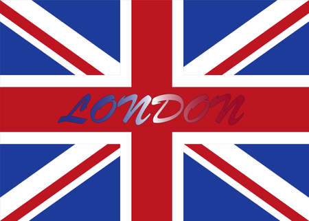 London with UK flag Vector