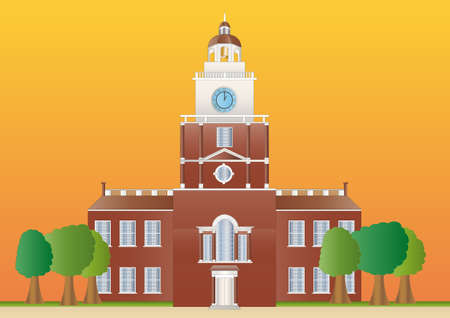declaration of independence: independence hall at sundown Stock Photo