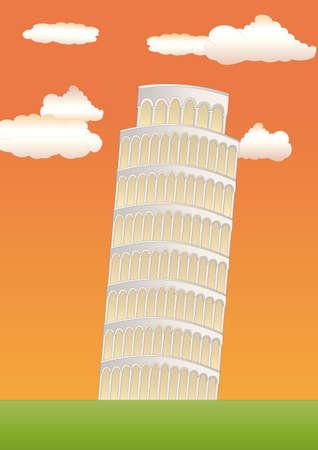 the leaning tower of pisa: leaning tower of pisa at sundown Stock Photo