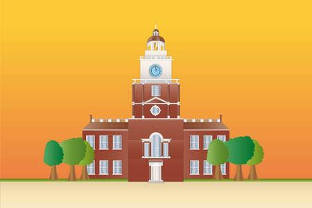 Salón de la independencia en la puesta de sol Ilustración de vector