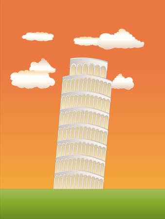 the leaning tower of pisa: leaning tower of pisa at sundown Illustration