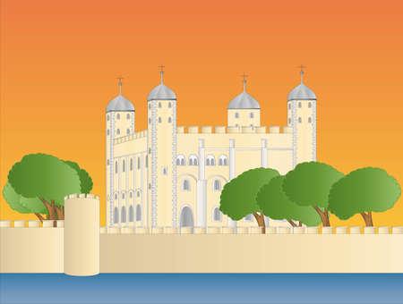 Torre de Londres en la puesta de sol