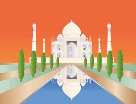 Taj Mahal en la puesta de sol