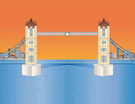 Puente de la torre al atardecer Ilustración de vector