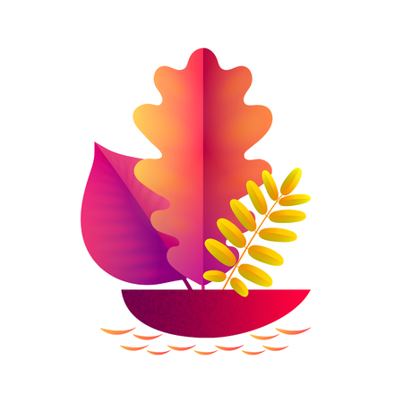 Vector autumn illustration. A boat with a sail in the form of an autumn leaf floating in a puddle and isolated on a white background.