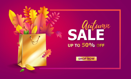 Vector illustration of bright bouquet of autumn fallen leaves in gift paper shopping bag with gold ribbon. Isolated on transparent background. Luxury, festive carton package. Mock up for your design Illustration